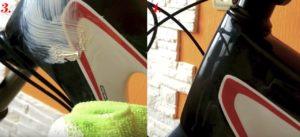 fixing and polishing black bike at home