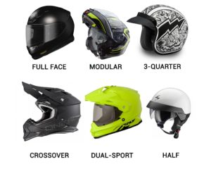 types of moto helmets